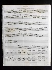 Rees 1820 Antique Print. Music 29 fingering of Semitonic or Chromatic Divisions